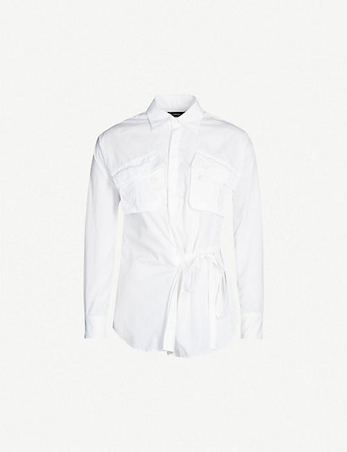 5a070e7a3cd9 DSQUARED2 Tied-front cotton-poplin shirt