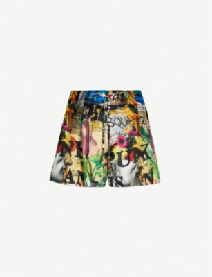 DSQUARED2 Graphic-print high-rise silk shorts