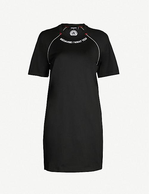 184c944b1a67 DSQUARED2 Contrast-trim cotton-jersey dress