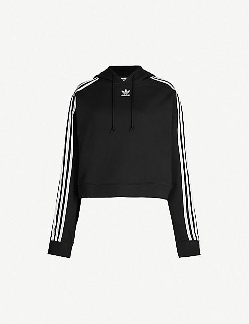 ADIDAS ORIGINALS Logo-embroidered cropped cotton-jersey hoody 2650868caccf2