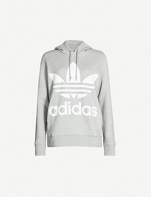 adidas Originals Trefoil printed satin jersey hooded top