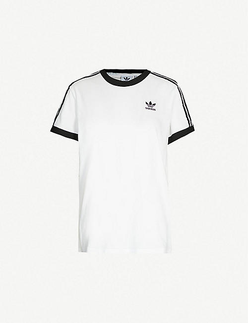 ADIDAS ORIGINALS: Striped cotton-jersey T-shirt