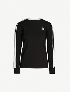 ADIDAS ORIGINALS 3-stripes embroidered-logo cotton-jersey top