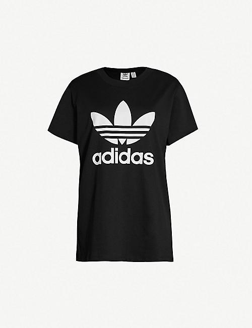 010e2dea ADIDAS ORIGINALS Trefoil cotton boyfriend T-shirt
