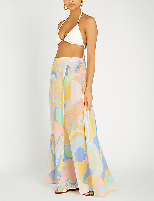 EMILIO PUCCI Printed cotton and silk-blend skirt