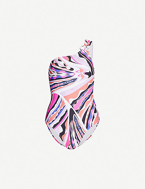 EMILIO PUCCI Graphic-print asymmetric off-the-shoulder swimsuit