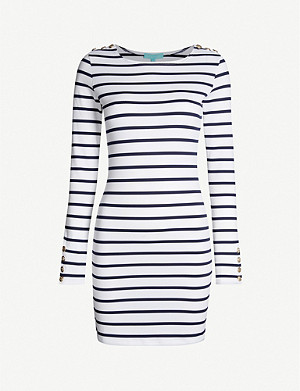 MELISSA ODABASH Agata striped stretch-piqué dress