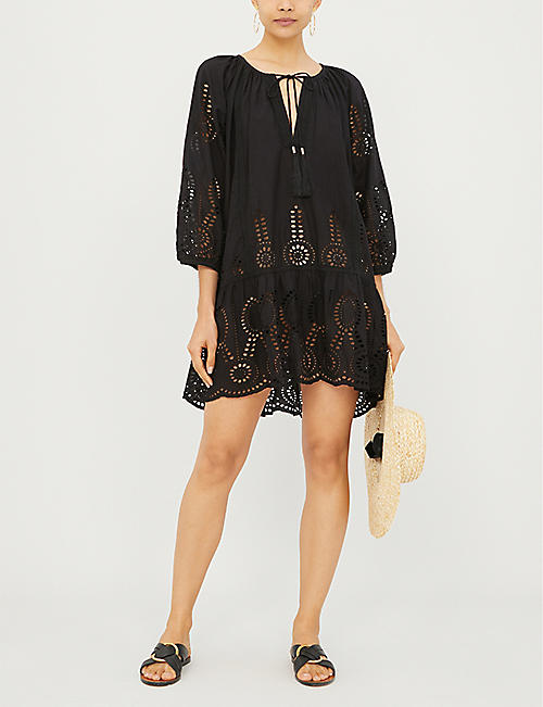 MELISSA ODABASH Ashley embroidered cotton mini dress
