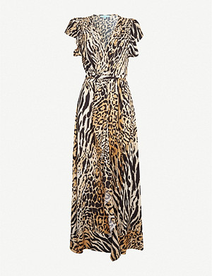 MELISSA ODABASH Brianna animal-print woven maxi dress