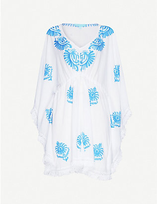MELISSA ODABASH: Irene embroidered woven mini dress