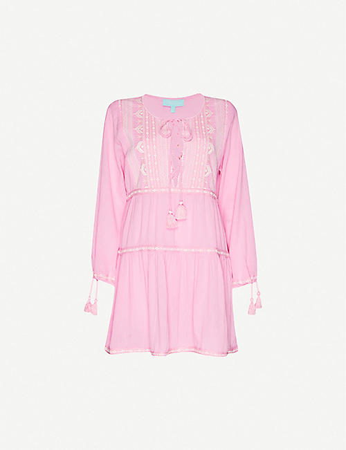 MELISSA ODABASH Millie embroidered cotton mini dress