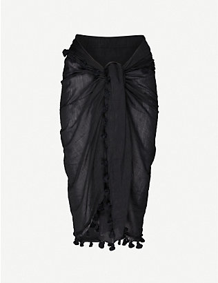 MELISSA ODABASH: Pareo tassel-trimmed cotton and silk-blend sarong