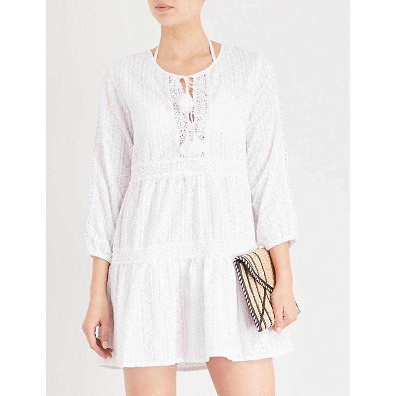 Ashley Eyelet-Embroidered Cotton Dress, White