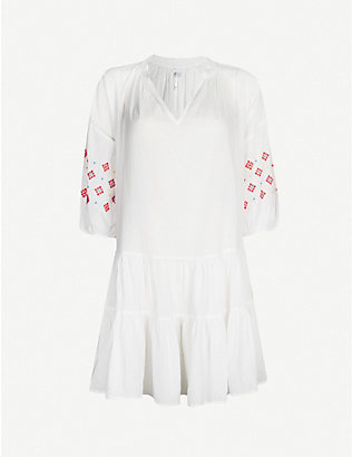 SEAFOLLY: Geometric-embroidered cotton dress