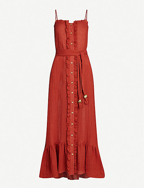 LISA MARIE FERNANDEZ Buttoned-down belted linen-blend midi dress