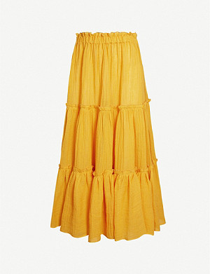 LISA MARIE FERNANDEZ Peasant ruffled linen-blend skirt