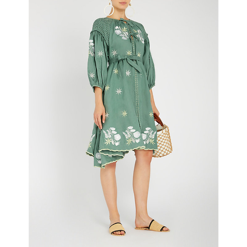 Innika Choo FLORAL-EMBROIDERED LINEN DRESS