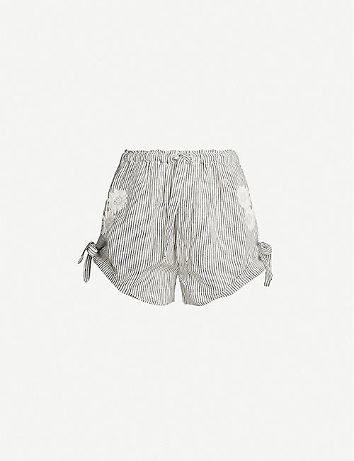 INNIKA CHOO Daisy floral-embroidered linen shorts