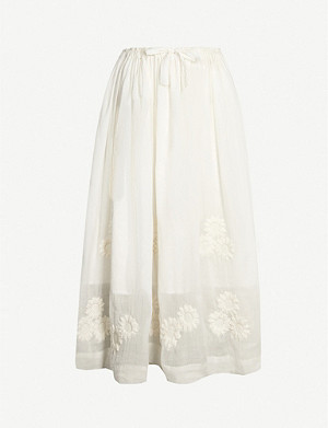 INNIKA CHOO Daisy floral-embroidered rami dress skirt