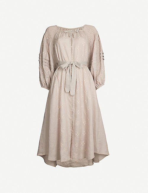 INNIKA CHOO Embroidered linen smock dress