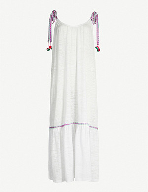 PITUSA Pom-pom trimmed cotton-blend jersey dress