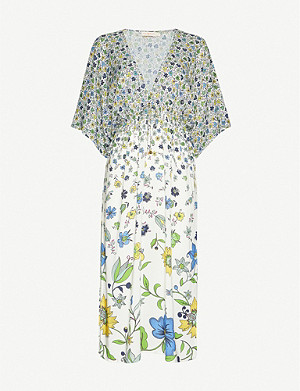 TORY BURCH Floral-print V-neck midi crepe dress