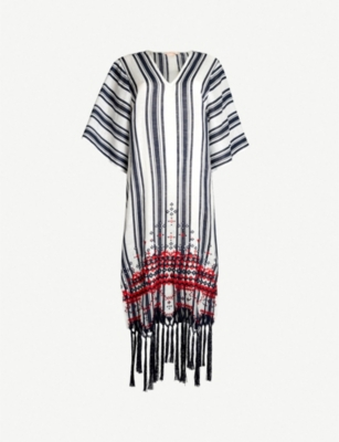 TORY BURCH Striped tasselled linen kaftan