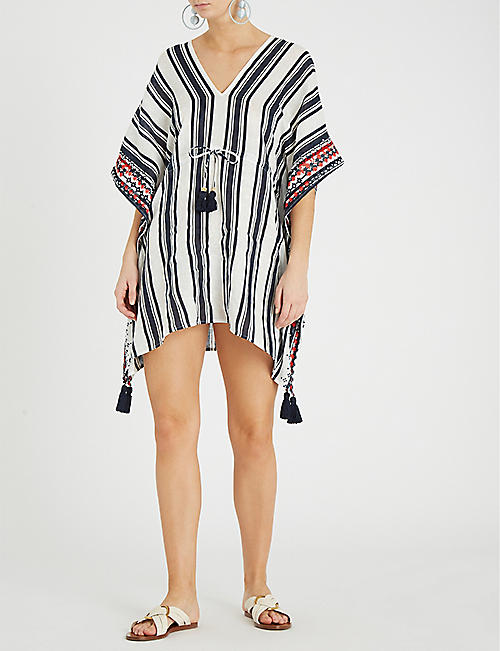 TORY BURCH Ravena striped linen kaftan