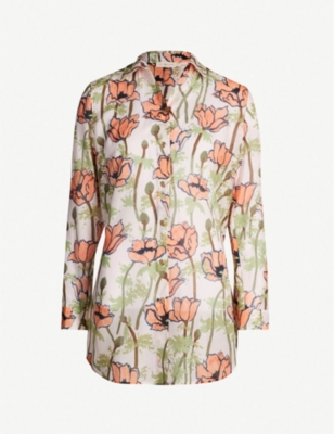 TORY BURCH Floral-print cotton and silk-blend beach tunic