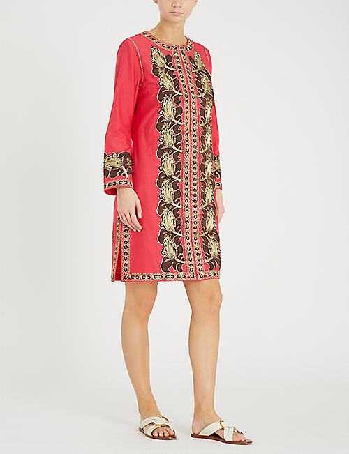 f68bfc44abbf26 TORY BURCH Metallic embroidered cotton and silk-blend kaftan. Quick Shop