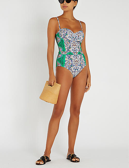 TORY BURCH Baroque-print moulded swimsuit
