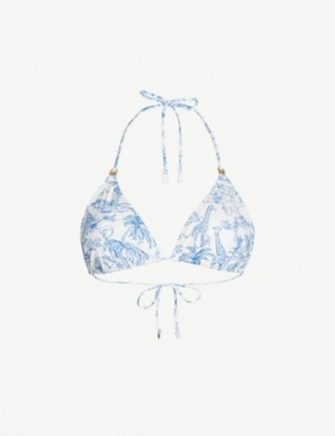 TORY BURCH Nature-print triangle bikini top
