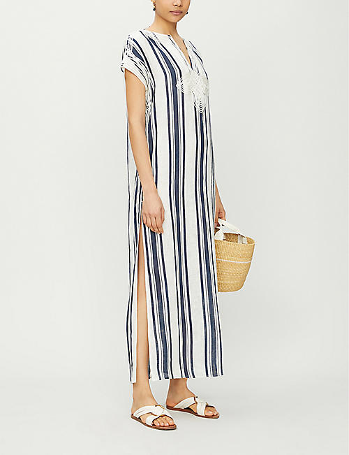 TORY BURCH Piped-trim striped linen tunic
