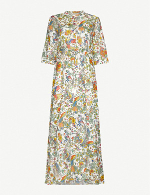 TORY BURCH Floral-print cotton and silk-blend maxi dress