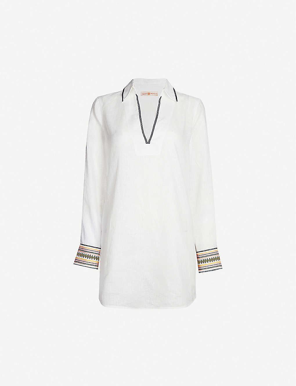 c879ea8945 TORY BURCH - Embroidered linen beach shirt | Selfridges.com