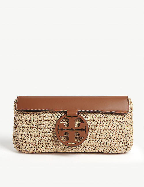 TORY BURCH Miller leather and straw clutch