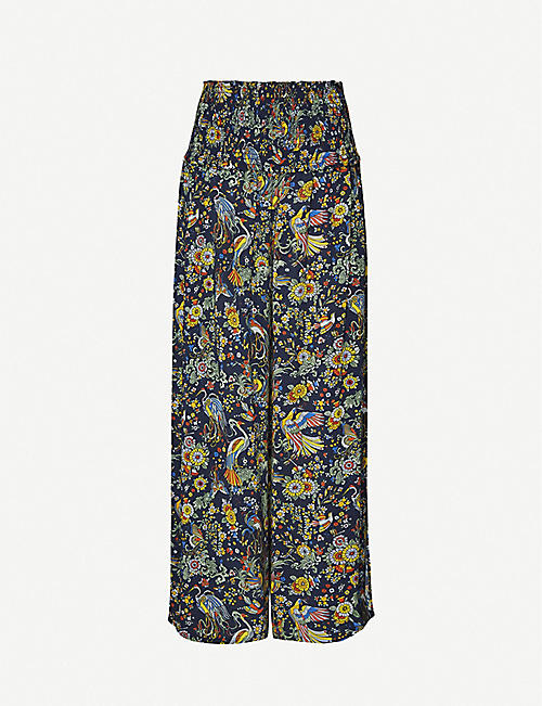 TORY BURCH High-rise printed voile wide-leg trousers