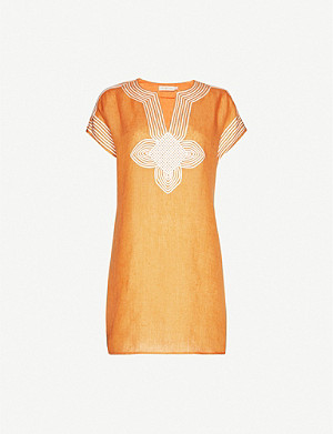 TORY BURCH Piped-trim linen tunic