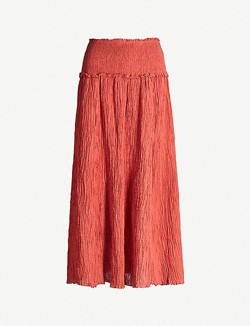 ZIMMERMANN Via Veneto shirred cheesecloth skirt