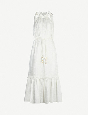 ZIMMERMANN Zinnia tie-shoulder linen midi dress