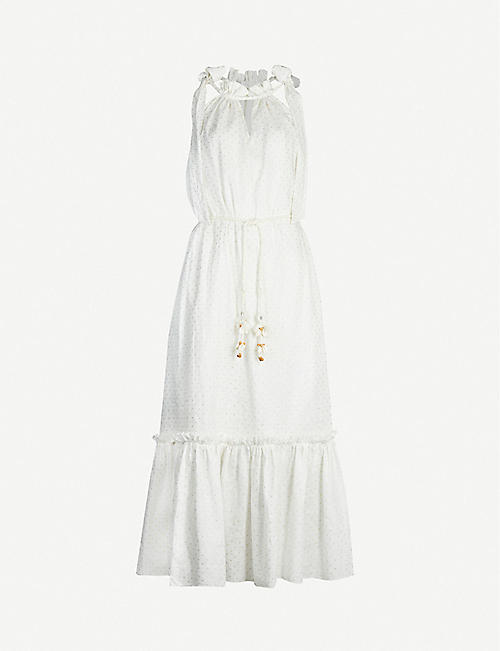 ZIMMERMANN: Zinnia tie-shoulder linen midi dress