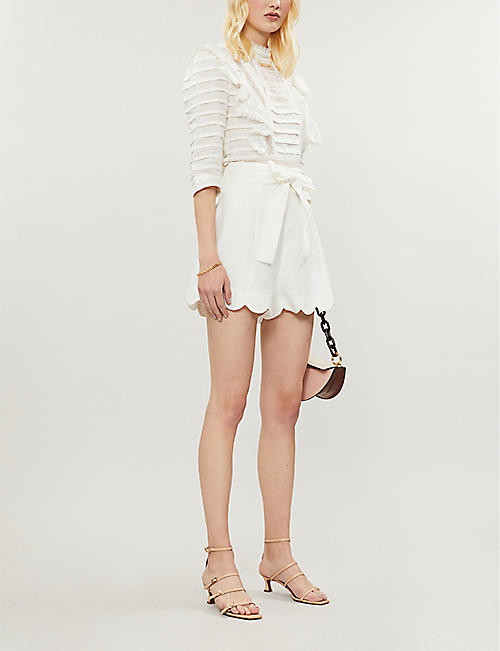 ZIMMERMANN Zinnia scalloped-hem high-rise linen shorts