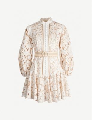 Edie floral lace mini dress - IVORY