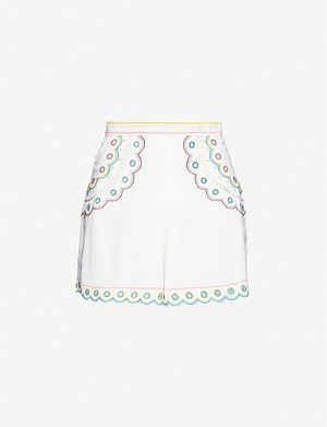 ZIMMERMANN Peggy embroidered linen and cotton-blend shorts