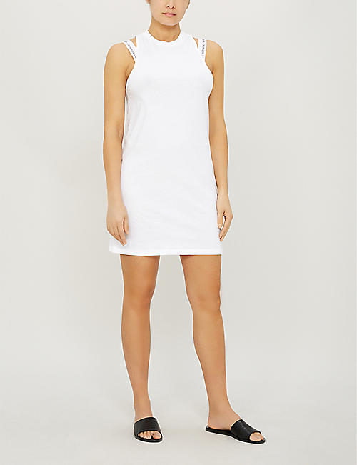 CALVIN KLEIN Branded sleeveless cotton-jersey dress
