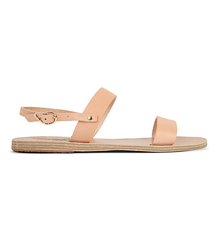 ANCIENT GREEK SANDALS Clio Double-Band Flat Slingback Sandal, Natural in Neutrals