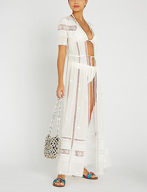 SELF PORTRAIT Loose-fit drawstring woven maxi dress