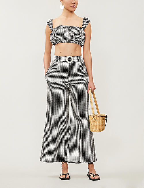 SOLID & STRIPED Gingham puff-sleeve crepe crop top
