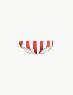 SOLID & STRIPED Elle striped low-rise high-leg bikini bottoms