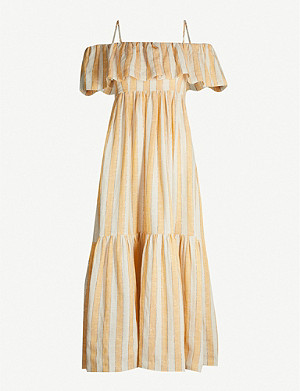 THREE GRACES LONDON Ida cold-shoulder linen-blend dress